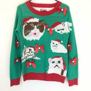 Ugly Cat Christmas Sweater Tipsy Elves Size Small